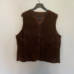 Outbrook Ladies Brown Suede Leather Lined Vest